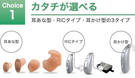 Choice 1 カタチが選べる 耳あな型・RICタイプ・耳かけ型の3タイプ